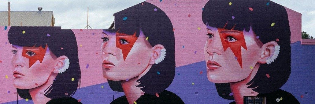 3 Headshot Graffiti of A Woman's Portrait with Different Face Markings