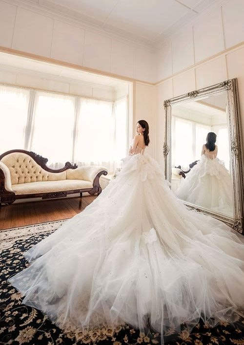 Ball gown bridal dress on asian bride