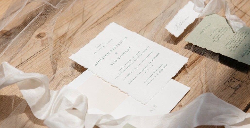 Ansleigh and Sam Wedding Invitation in White Paper as One of The Best Wedding Invitation in Brisbane