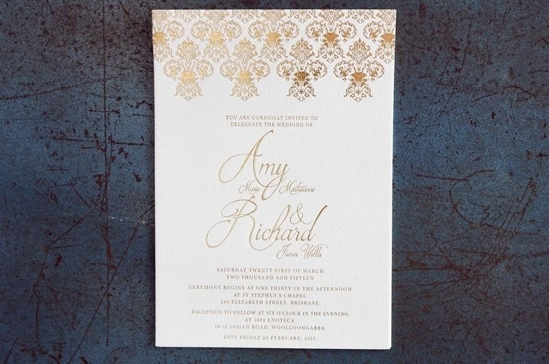 Amy and Richard Handcrafted Gold and Cream Wedding Invitation