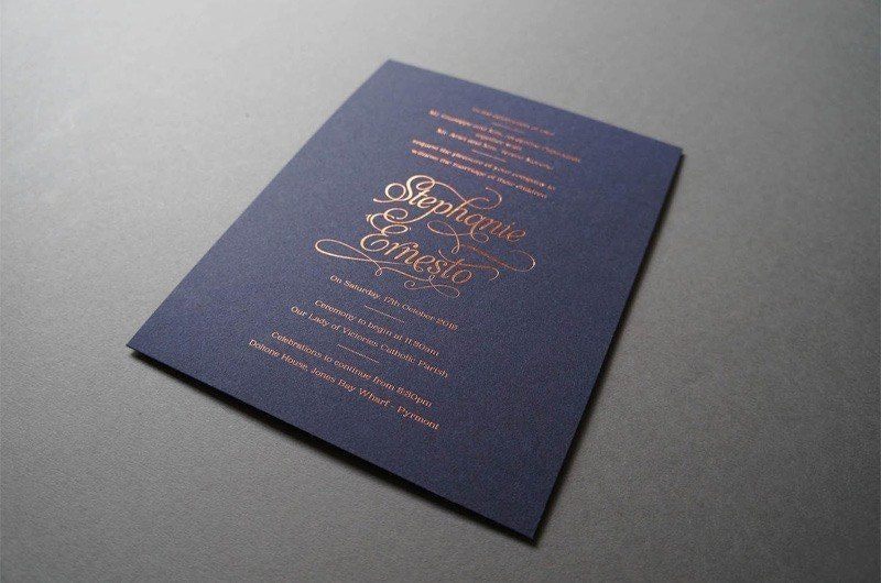 Stephanie and Ernesto's Antique-Ish Vibe Wedding Invitation in Navy Blue and Gold