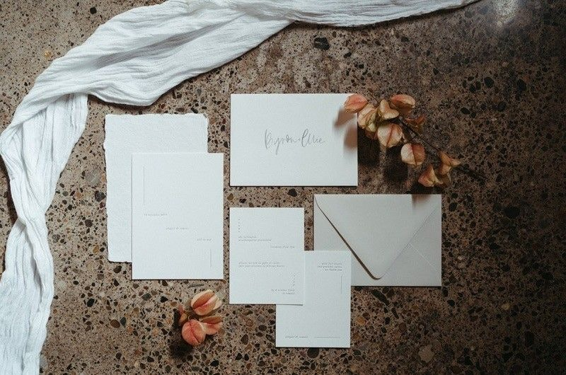 Clean and Simple Wedding Invitation in White Paper and Cream Envelope