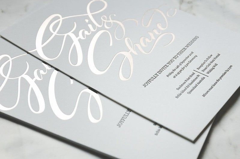Gail and Shane Wedding Invitation in Grey and Gold