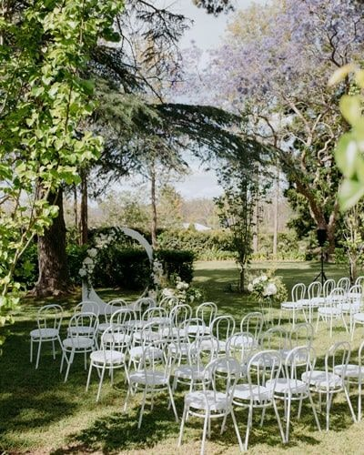 Bentwood chairs for outdoor wedding ceremony