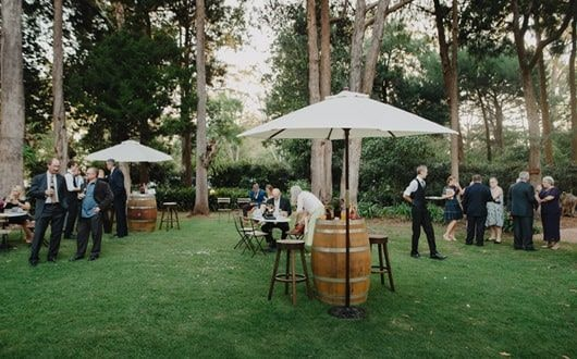 Garden wedding with guests outside