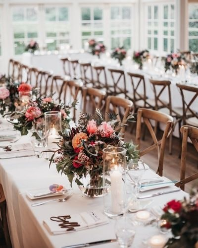 Summer wedding table flowers