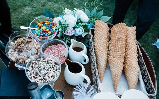 Ice cream cones and toppings