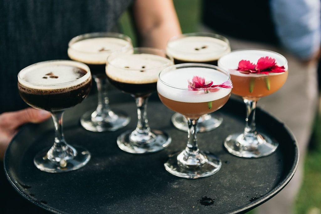 wedding drinks including espresso martini and gin cocktail