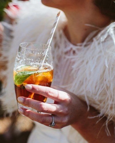 Bride. sipping pimms
