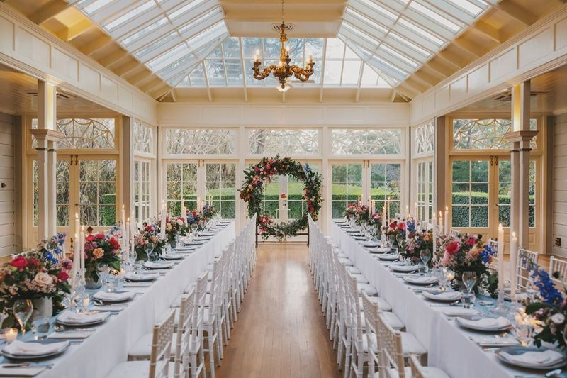 The Conservatory at Gabbinbar Homestead with white tiffany chairs