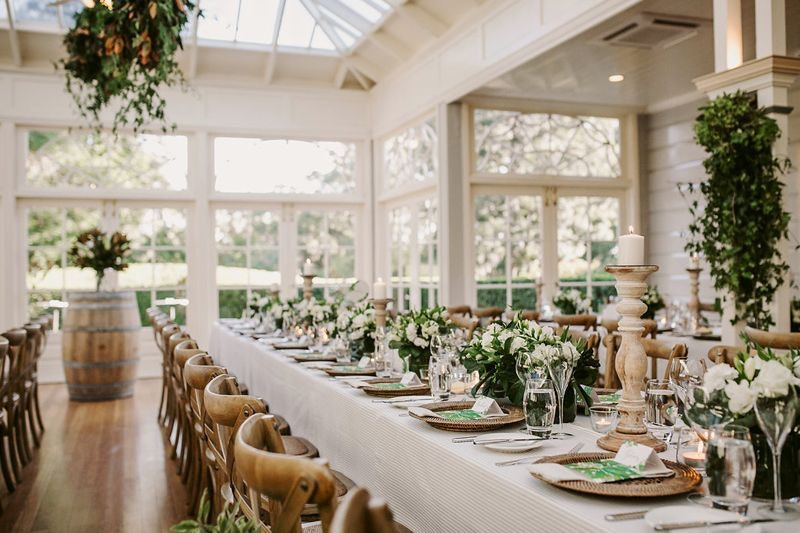 The conservatory with white and green theme