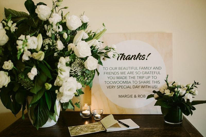 Thank you card on wedding day
