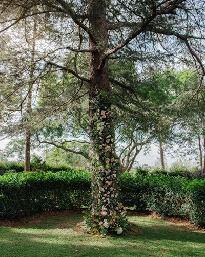 Wedding floral installation suspended to tree