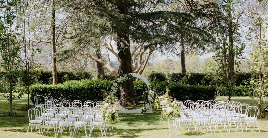 Neutral-themed ceremony styling in Queensland