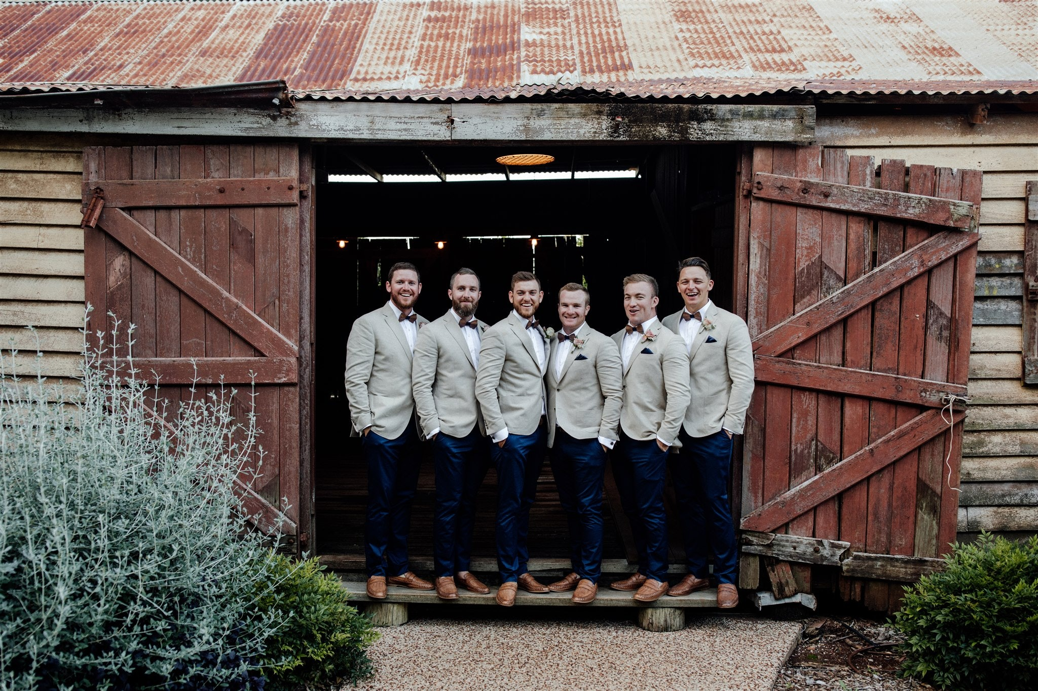 Groom and groomsmen at The Stables