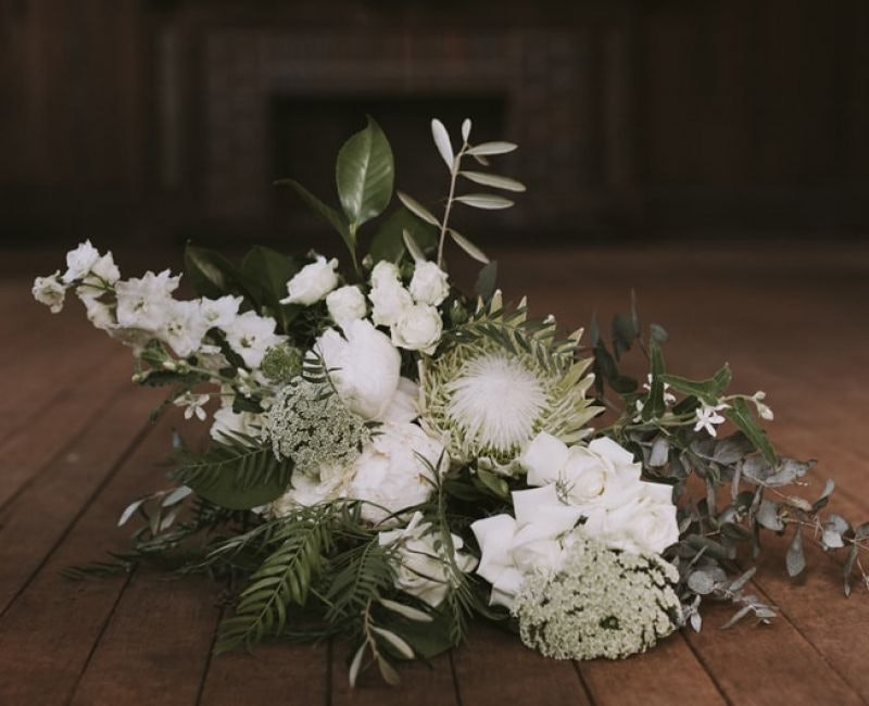 White Flower Bouquet On The Floor