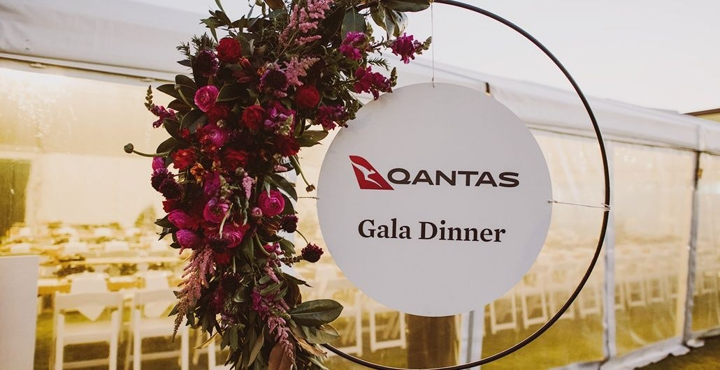 2019 Qantas gala dinner welcome sign