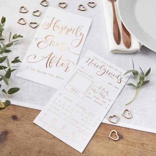 Wedding stationary with gold lettering