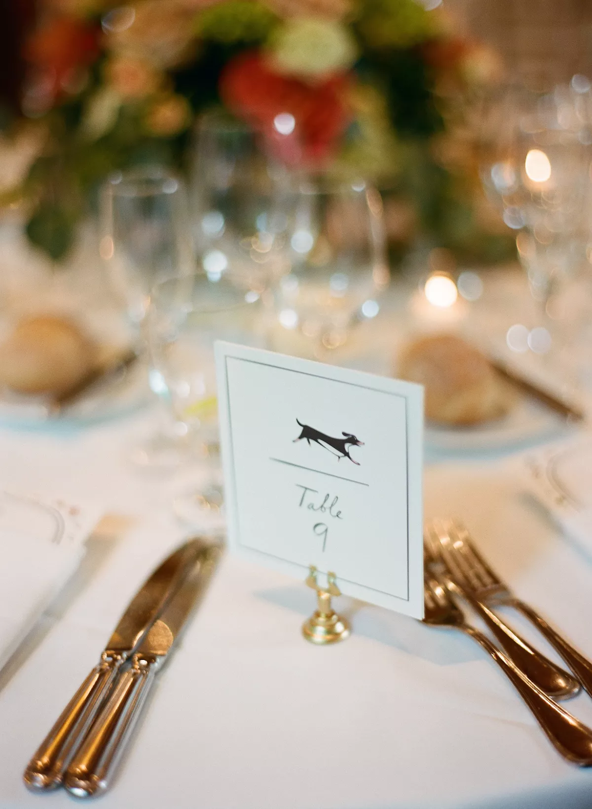 Wedding signage for tables feature dog illustration