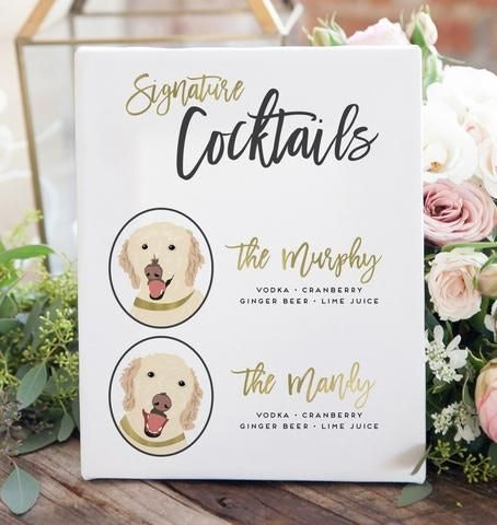 Golden retriever dog menu for wedding
