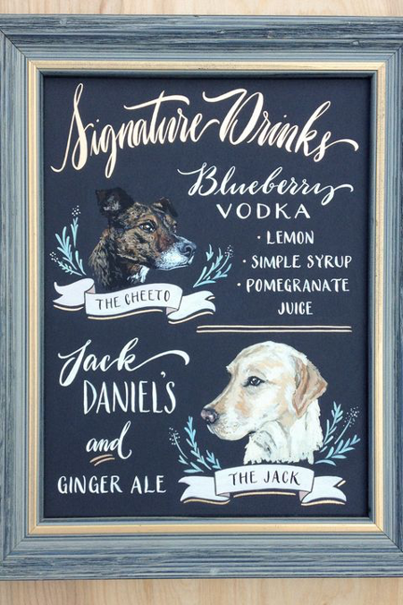 Two dogs illustrated on a navy bar menu
