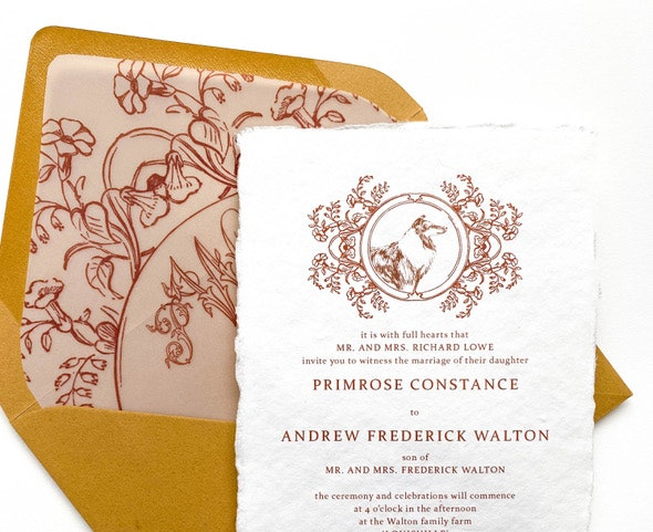Wedding stationery with illustrated dog
