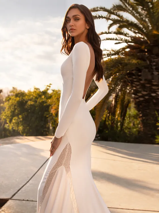 Bride is wearing a fitted long sleeve gown with a plunging backline