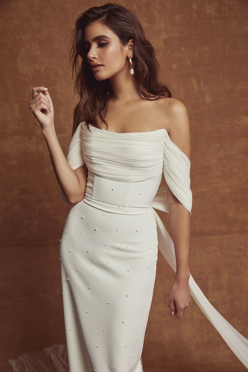 Simple wedding gown with pearl beading