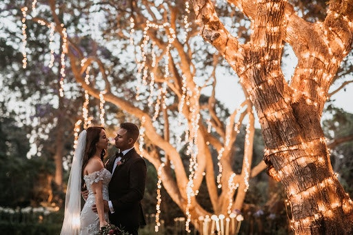 Bride and groom embracing under large tree lit up with fairy lights