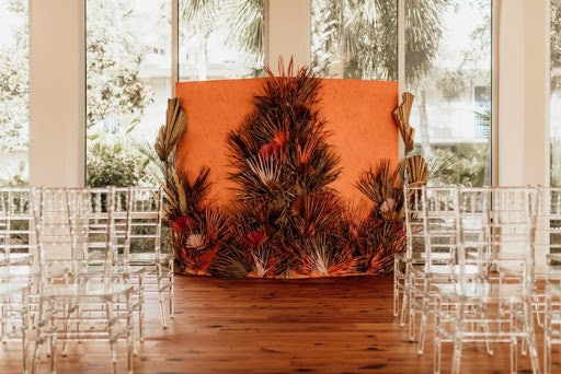 Orange arbour decorated with dried florals