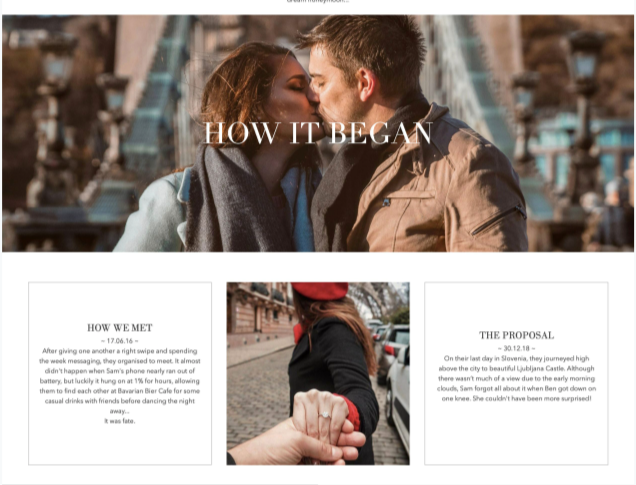 Wedding website design page