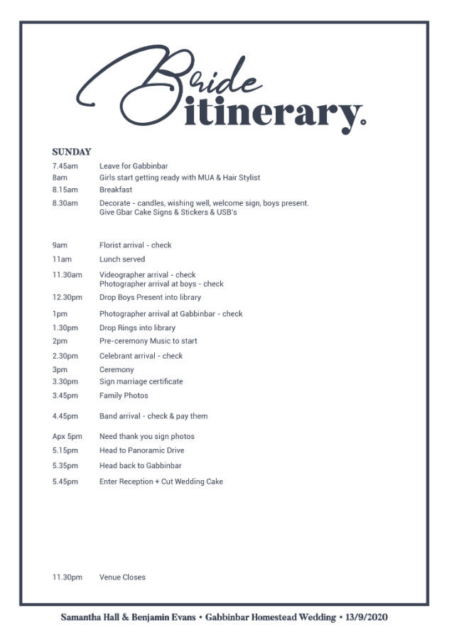Bride Itinerary