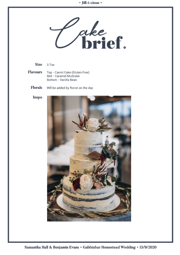 Cake brief inspiration sheet