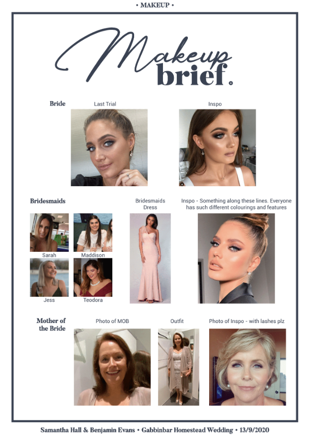 Makeup brief inspiration sheet