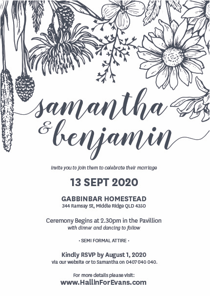 Samantha and Benjamin wedding invitation