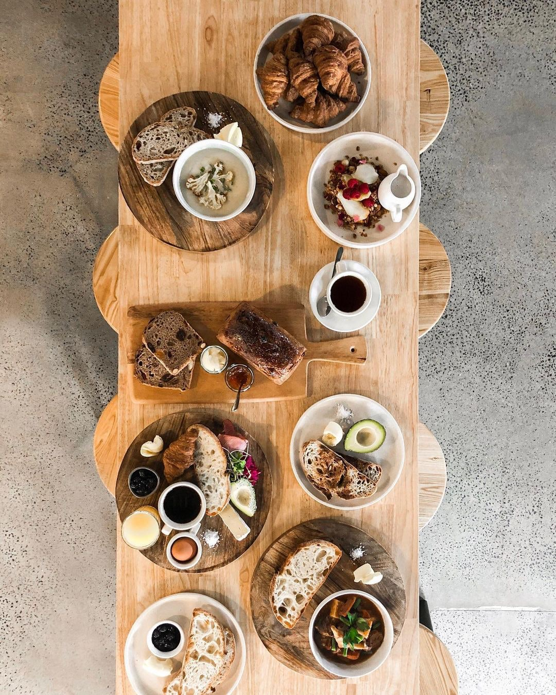 Grazing table with pastries and breads and dips