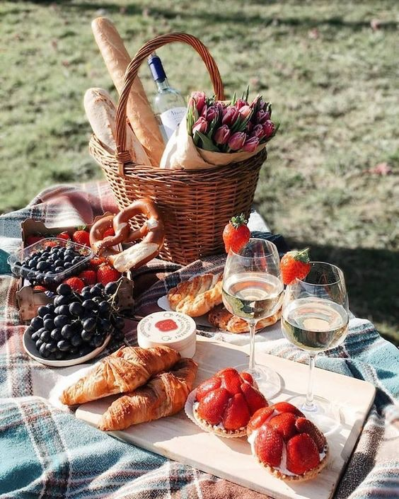 Picnic spread on picnic table