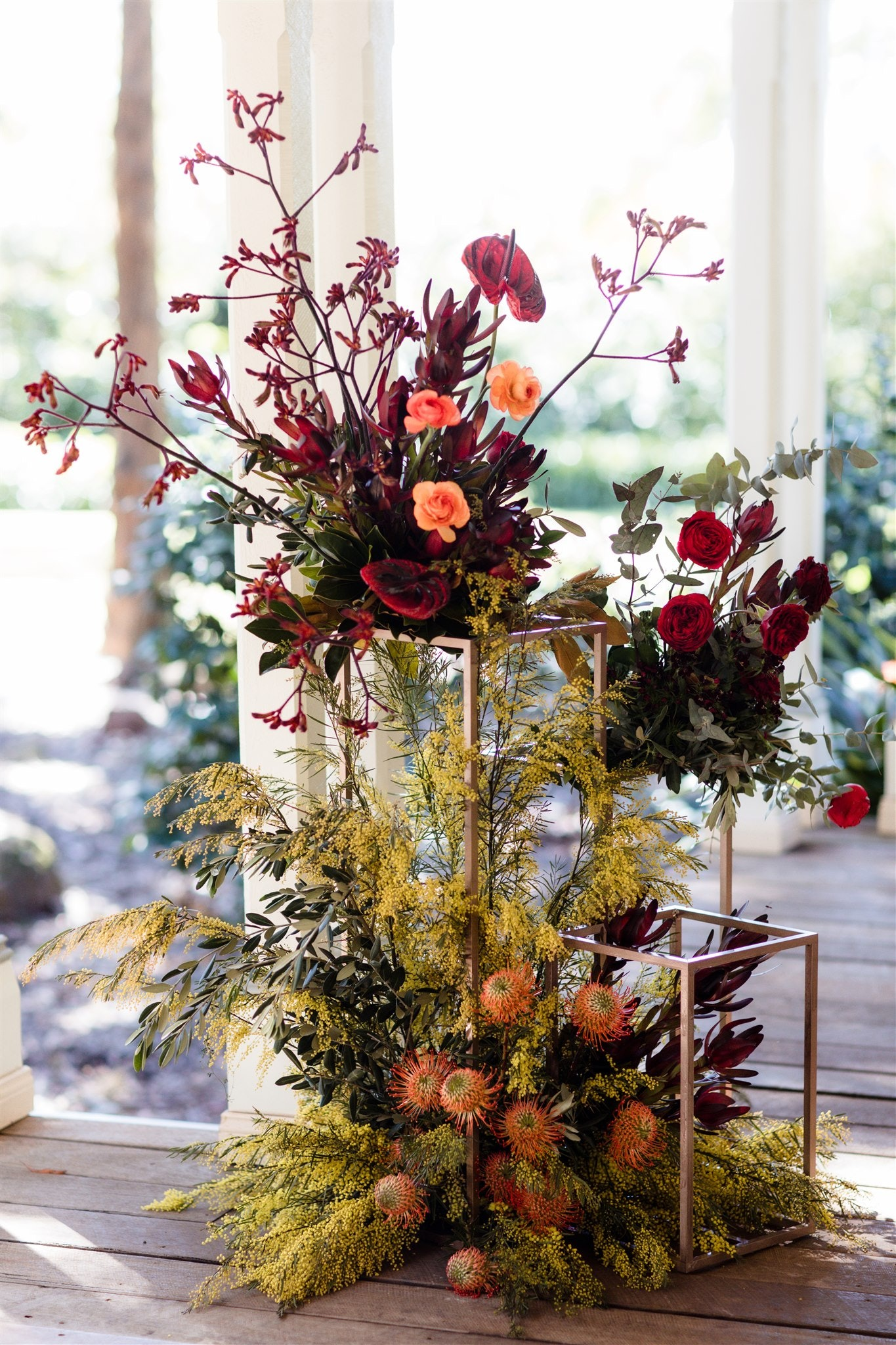Floral arrangement made into an arbour