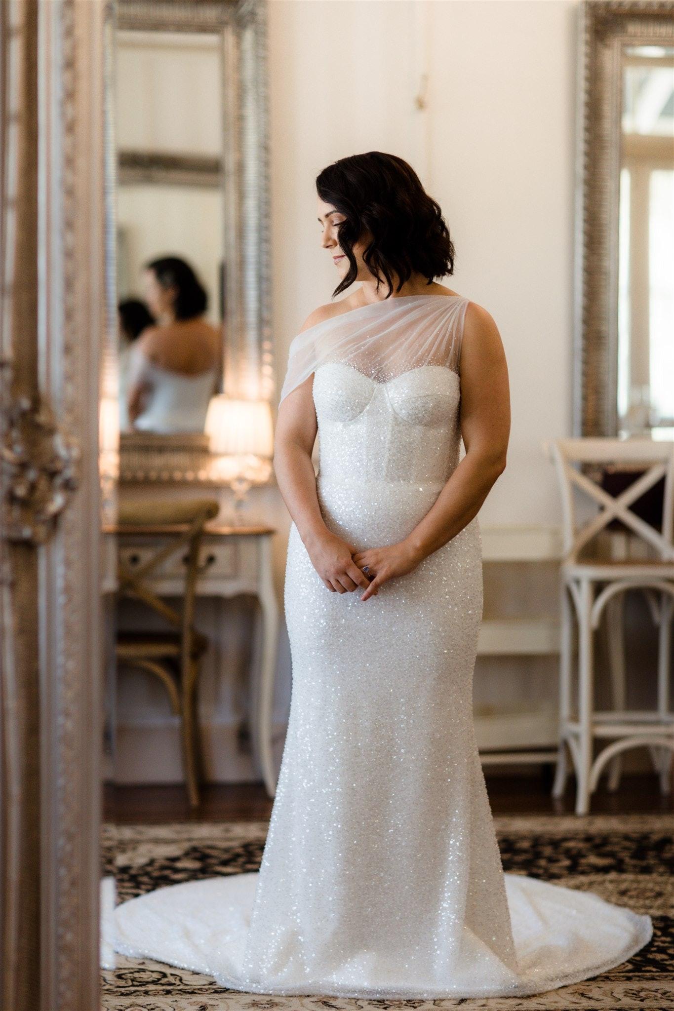 Bride in Bride's Retreat posing in sequinned dress