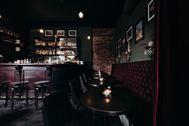 Dark and moody bar interior