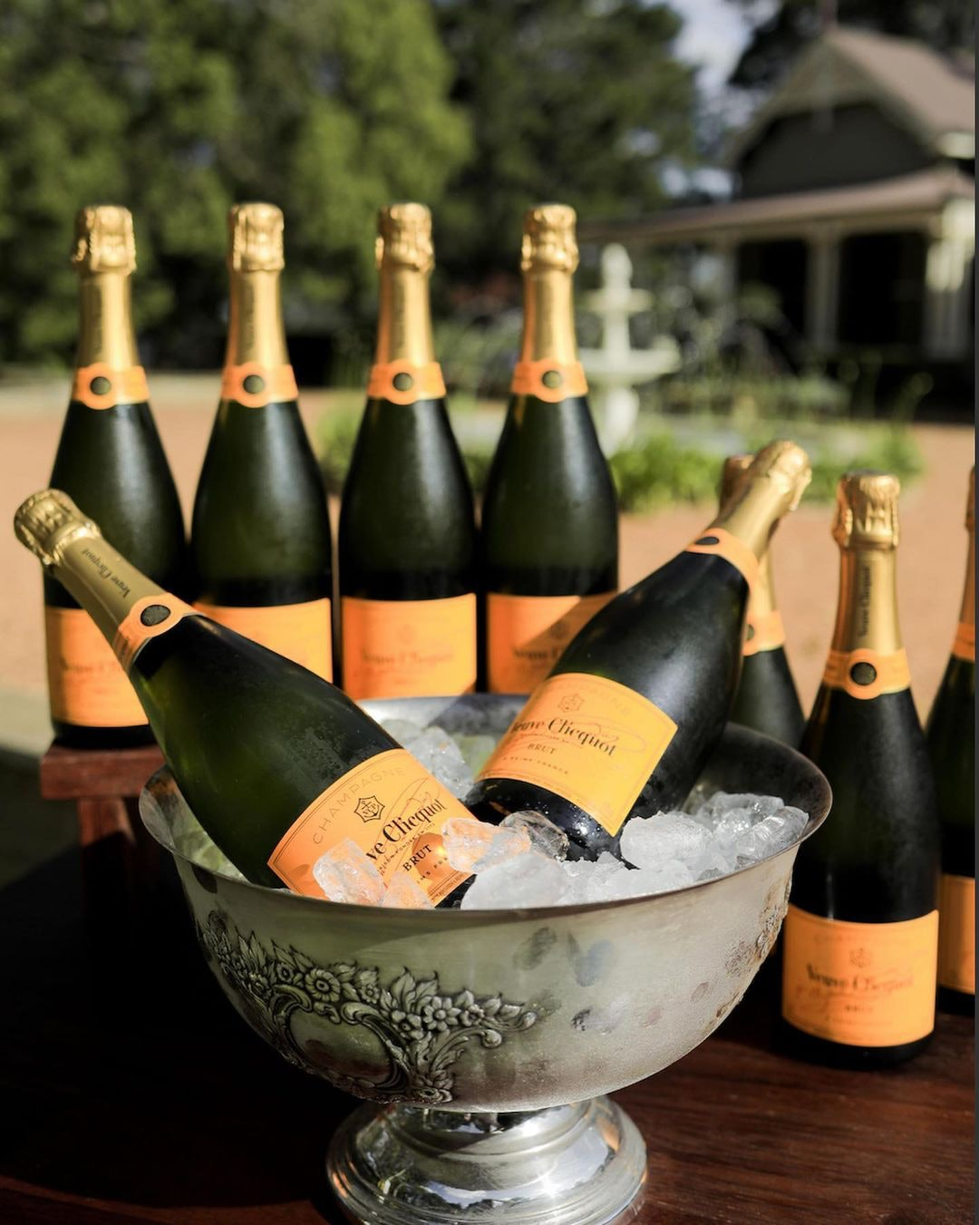 Bottles of champagne in an ice bucket