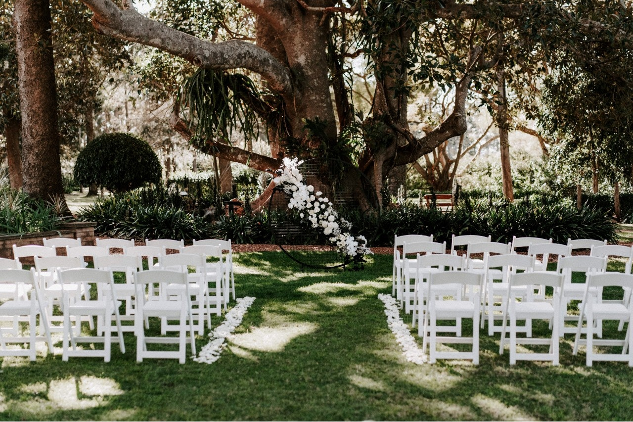 Outdoor wedding ceremony under moreton bay fig with white chairs