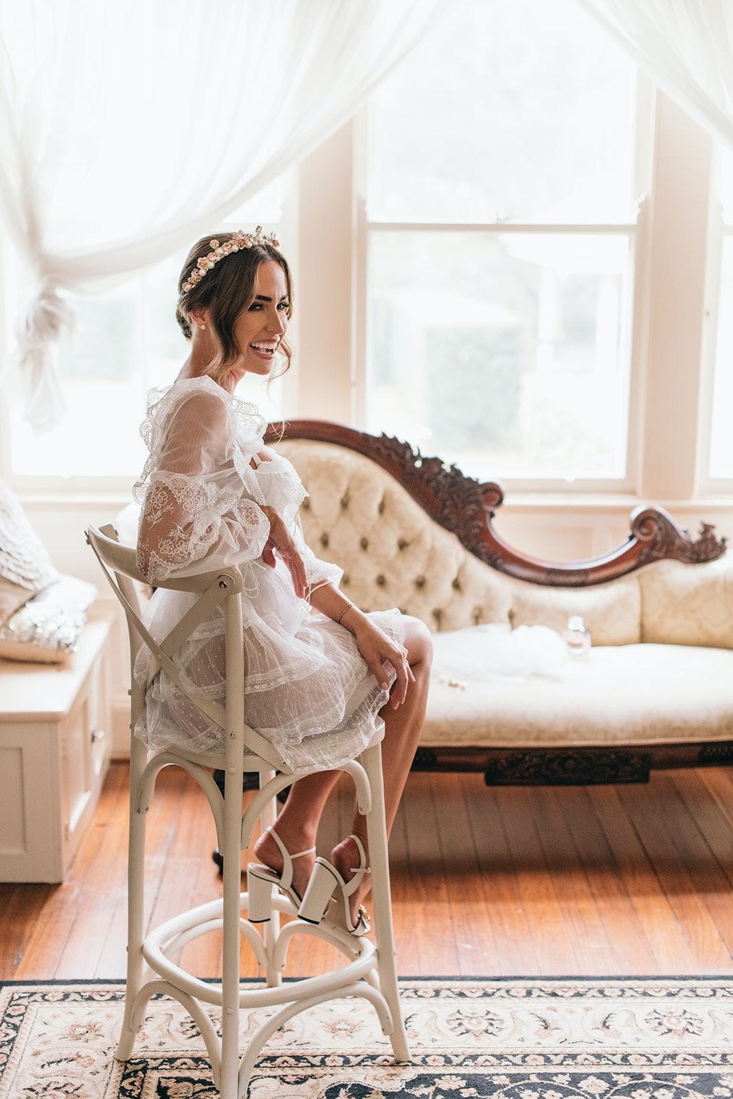 Bride sitting in chair