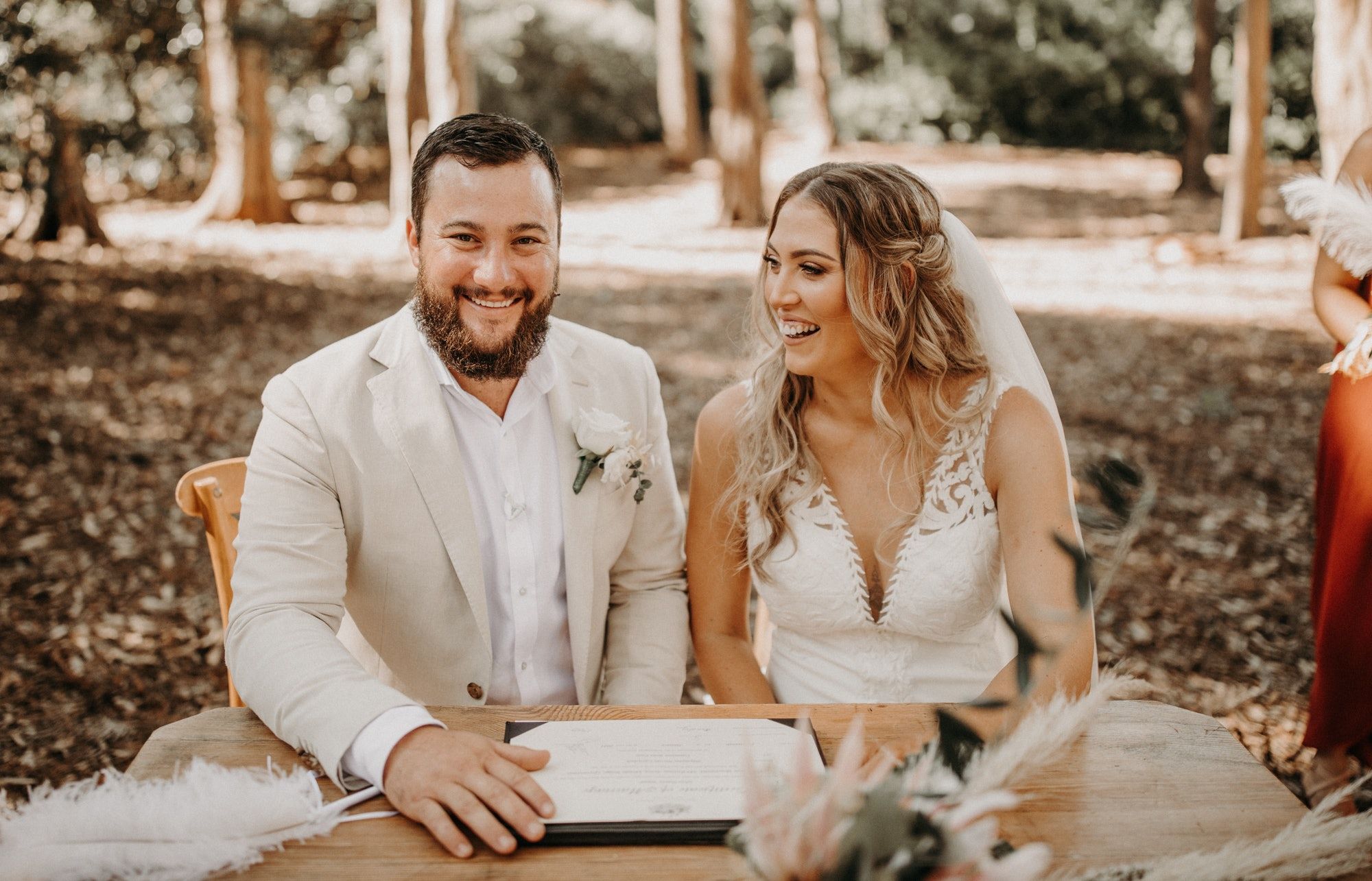Bride and Groom at signing table