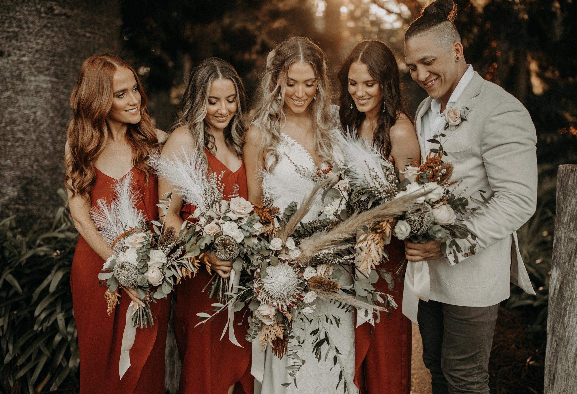 Bride and bridesmaids and Bridesman