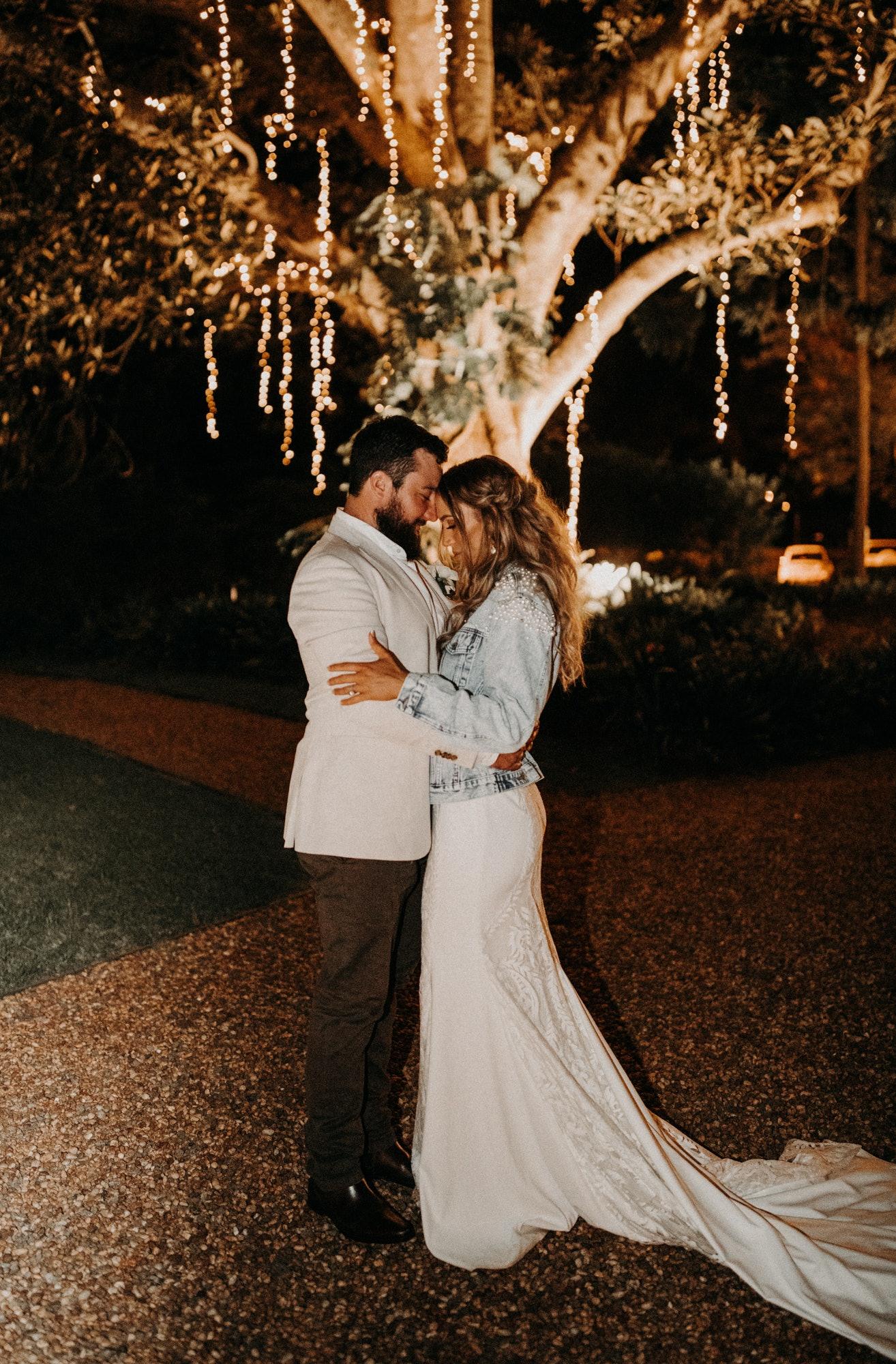 Bride and Groom in night garden