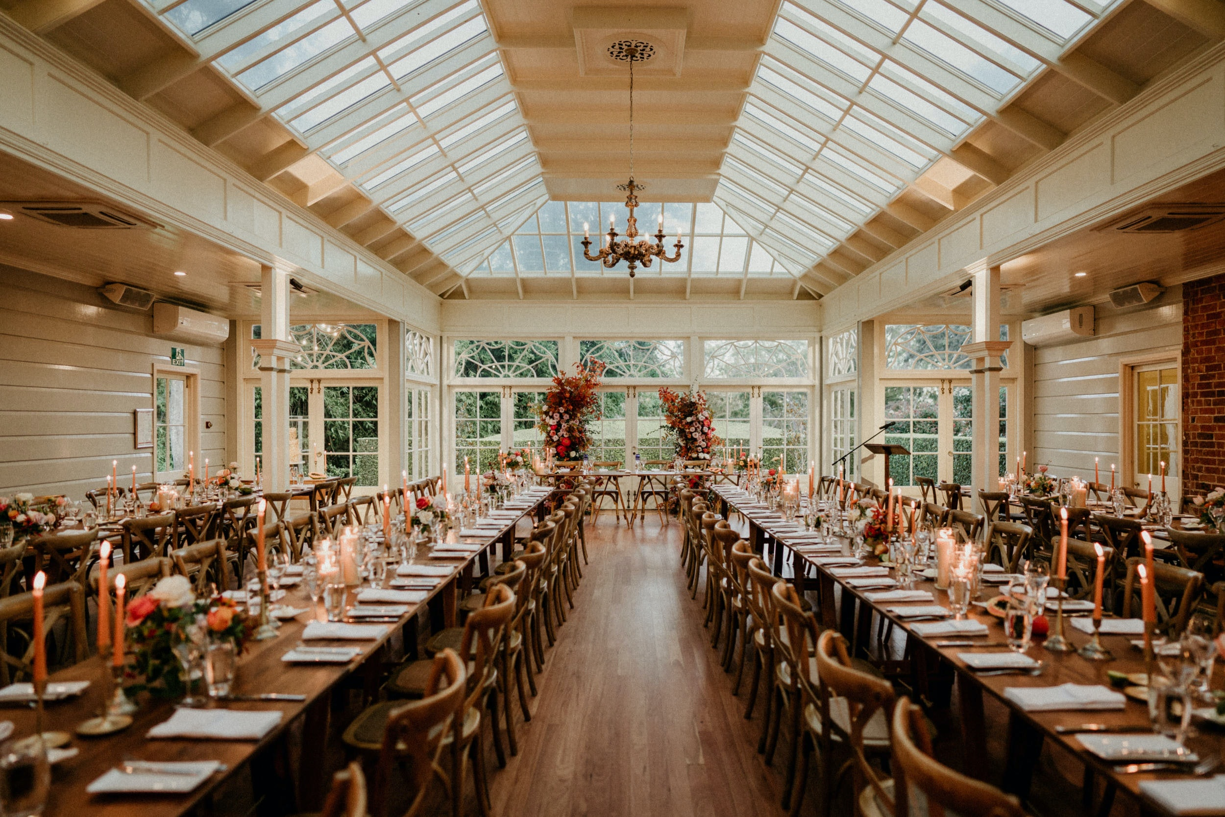 wedding reception with autumn colours
