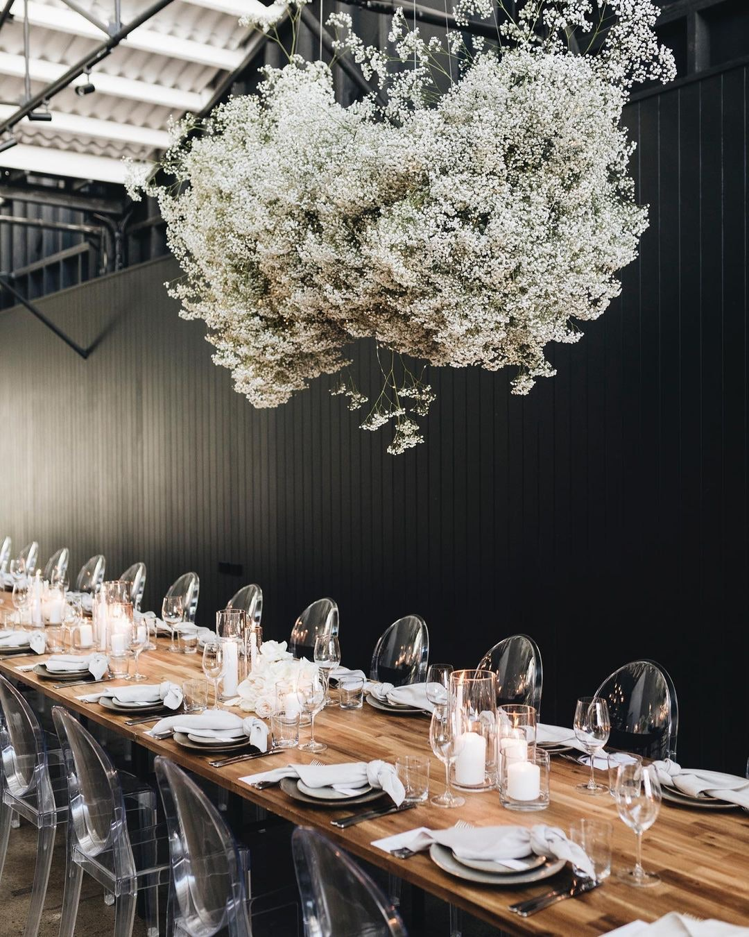 Reception with flowers hanging above