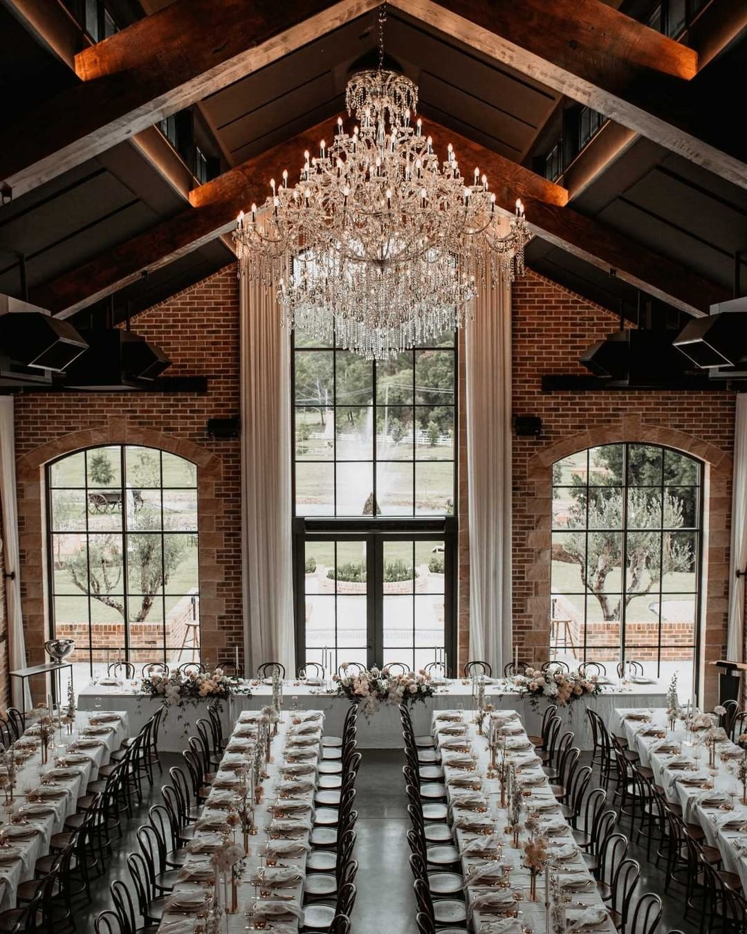 Wedding reception with long tables