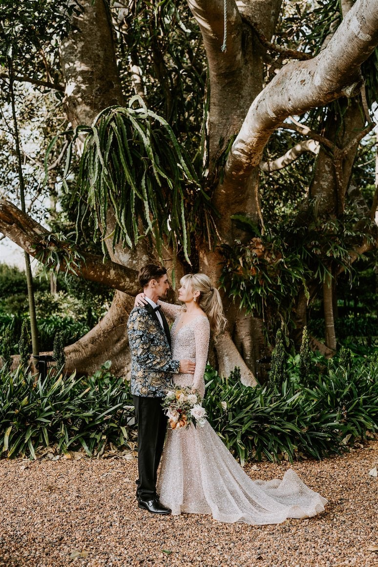 Bride and groom in gardens